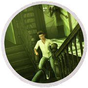 The Haunted Manor Round Beach Towel