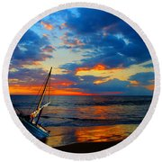The Hawaiian Sailboat Round Beach Towel by Michael Rucker