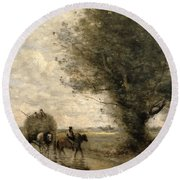 The Haycart Round Beach Towel by Jean Baptiste Camille Corot