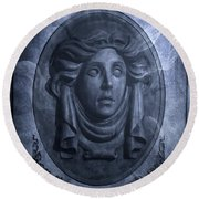 The Headstone Of Madame Leota Round Beach Towel