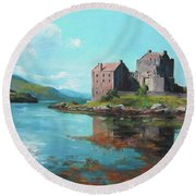 The Heart Castle Round Beach Towel