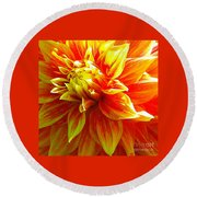 The Heart Of A Dahlia #2 Round Beach Towel
