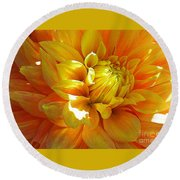 The Heart Of A Dahlia Round Beach Towel