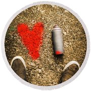 The Heart Of A Vandal Round Beach Towel