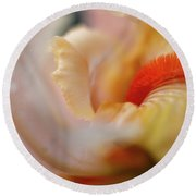 The Heart Of A Yellow Iris Round Beach Towel