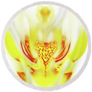 The Heart Of An Alien-orchid Round Beach Towel by Jennie Breeze