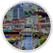 The Heart Of Downtown Spokane  Round Beach Towel