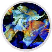 Round Beach Towel featuring the painting The Heart Of My Garden by Hanne Lore Koehler
