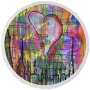 The Heart Of The City Round Beach Towel