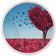 The Heart Tree Round Beach Towel