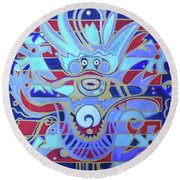 Round Beach Towel featuring the painting The Heavenly Dragon Of Creativity by Denise Weaver Ross