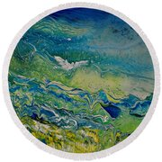 The Heavens And The Eart Round Beach Towel