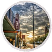 The Heights At Morning Light Round Beach Towel