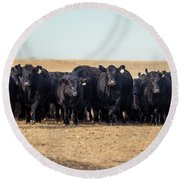 The Herd Rushes In Round Beach Towel
