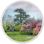 Round Beach Towel featuring the photograph The Hidden Garden by Diana Angstadt