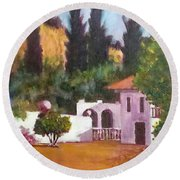 Round Beach Towel featuring the painting The Hidden Villa by Jim Phillips