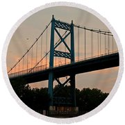 The High Level Aka Anthony Wayne Bridge I Round Beach Towel by Michiale Schneider