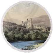 The Highland Home, Balmoral Castle Round Beach Towel by English School