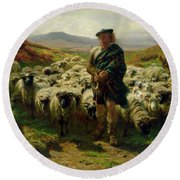 The Highland Shepherd Round Beach Towel