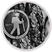 The Hiking Sign Round Beach Towel
