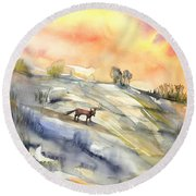 The Hill Of The Foxes Round Beach Towel