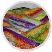 The Hills Are Alive Round Beach Towel by Kim Nelson
