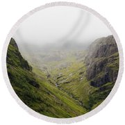 Round Beach Towel featuring the photograph The Hills Of Glencoe by Christi Kraft