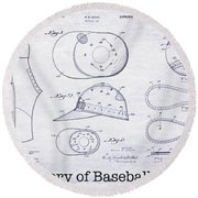 The History Of Baseball Patents Blueprint Round Beach Towel by Jon Neidert