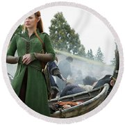 The Hobbit The Battle Of The Five Armies Evangeline Lilly Orlando Bloom Round Beach Towel