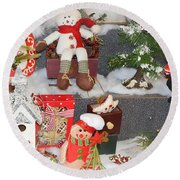 The Holiday Snowman Party Round Beach Towel