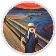 Round Beach Towel featuring the painting The Holler by Randol Burns
