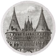 The Holsten Gate, Lubeck, Germany In Round Beach Towel