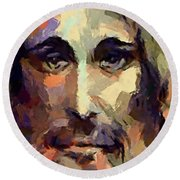 The Holy Face Of Jesus  Round Beach Towel