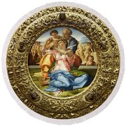 The Holy Family - Doni Tondo - Michelangelo - Round Canvas Version Round Beach Towel