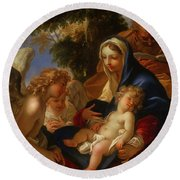 Round Beach Towel featuring the painting The Holy Family With Angels by Seastiano Ricci