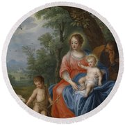 The Holy Family With John The Baptist And The Lamb Round Beach Towel