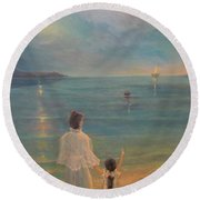Round Beach Towel featuring the painting The Homecoming by Donna Tucker