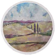 Round Beach Towel featuring the painting The Homeland by Becky Kim