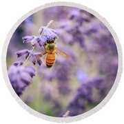 The Honey Bee And The Lavender Round Beach Towel