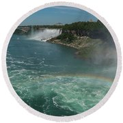 The Hornblower, Niagara Falls Round Beach Towel by Brenda Jacobs