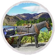 Round Beach Towel featuring the photograph The Horse At Old Cromwell by Nareeta Martin