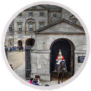 The Horse Guard At Whitehall Round Beach Towel
