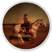 The Horse Rider Round Beach Towel