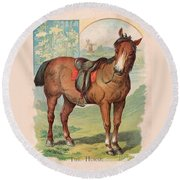 Round Beach Towel featuring the painting The Horse Victorian Chromolithograph by Peter Gumaer Ogden