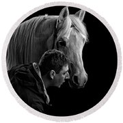 The Horse Whisperer Extraordinaire Round Beach Towel