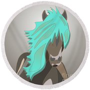The Horse With The Turquoise Mane Round Beach Towel