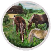 The Horses Of Larochemillay Round Beach Towel