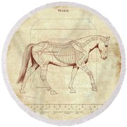 The Horse's Walk Revealed Round Beach Towel