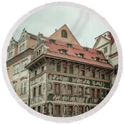 Round Beach Towel featuring the photograph The House At The Minute With Graffiti At Old Town Square  by Jenny Rainbow