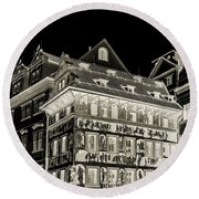 Round Beach Towel featuring the photograph The House At The Minute With Graffiti. Black by Jenny Rainbow